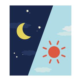 シンプルな夜と朝イメージ 角型アイコン(左から夜、昼)