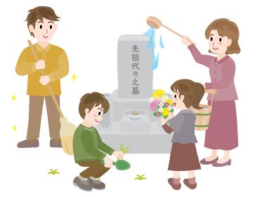 お彼岸のお墓参り 掃除をする4人家族