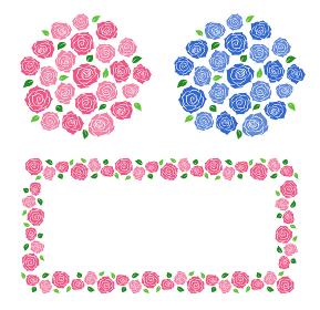 バラのフレームと花束セット