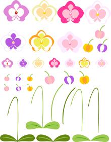 胡蝶蘭の花のイラスト素材セット
