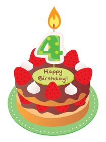 4歳のキャンドルをのせた苺とチョコのお誕生日ケーキ