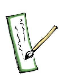 短冊に俳句などの文字を筆で書いている手描きのイラスト素材