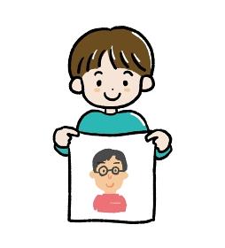 父の日にお父さんの似顔絵を描いた男の子のイラスト