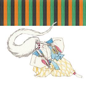 むきみ隈 連獅子 白 歌舞伎 隈取り 水彩 イラスト