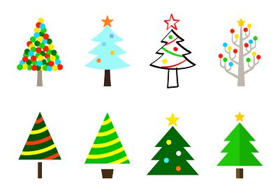 クリスマスツリーのイラスト デザイン バリエーション