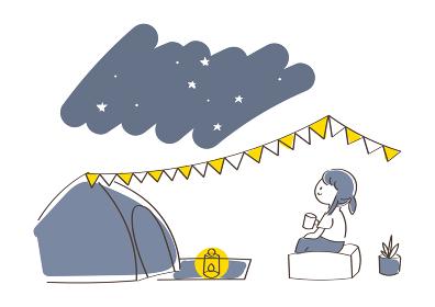 夜のキャンプのイラスト