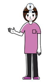 額帯鏡をつけた女性医師女医のシンプル線画イラスト|耳鼻科医全身 半袖ユニフォームスラックス