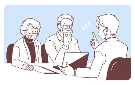 マスクを付けて商談する高齢の夫婦とビジネスマンのイラスト