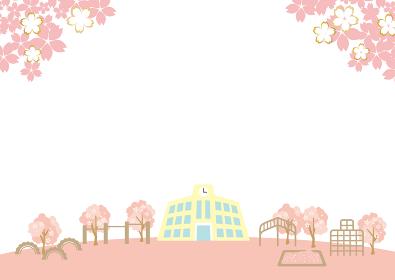 春の桜 学校の入学式
