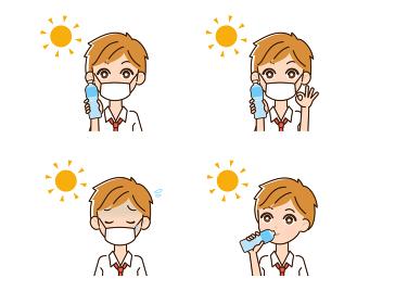 熱中症対策をする男性のイラスト