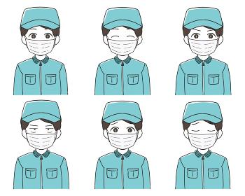 作業員 作業帽 男性 マスク 表情バリエー