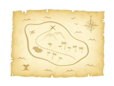 レトロな宝の地図のイラスト