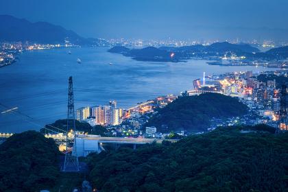 火の山公園展望台から眺める関門海峡と下関の夜景
