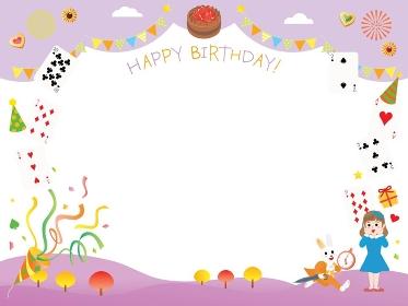 不思議の国のアリスのお誕生日のフレームイラスト