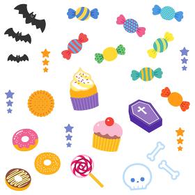 ハロウィンパーティーのお菓子や飾りパーツセット/線なし