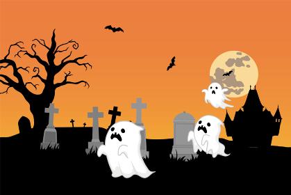 ハロウィンのイラスト お化けと墓地とお化け屋敷