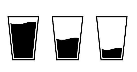 グラスと水のアイコンセット