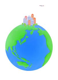 地球とビル群