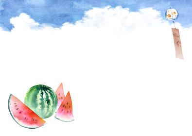 風鈴 スイカ 夏 背景 フレーム 水彩 イラスト