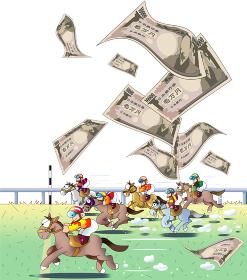 競馬場に舞い上がる日本の紙幣