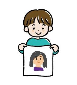 母の日にお母さんの似顔絵を描いた男の子のイラスト