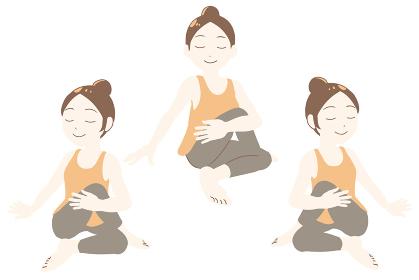 ヨガ 魚王のポーズ 瞑想(線無し)
