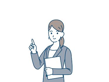 ビジネスウーマン 会社員 スーツ姿の女性 閃き 指を指す