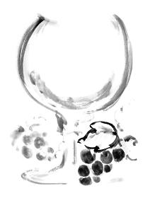 余白のあるワイングラスとぶどうの手描きのイラスト