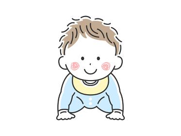 ハイハイをしているご機嫌な赤ちゃんのイラスト