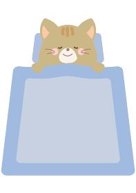 ぐっすり寝るネコのイラスト