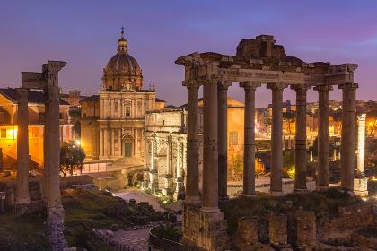 Ancient ruins of Roman Forum at sunrise, Rome, Italy