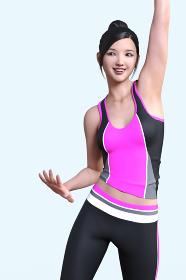 健康意識の高いスポーティーなジャージを着た女の子がエクササイズでリズミカルに動く