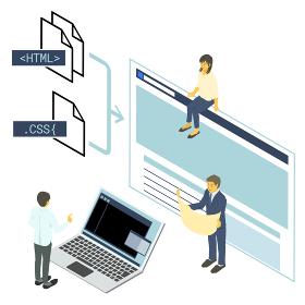アイソメトリック HTML+CSSでのシンプルなwebページのコンセプトと制作チームのベクターイラ