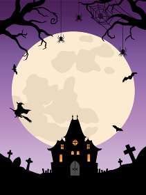 ハロウィン背景 お化け屋敷と魔女と満月