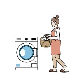 洗濯機を回す 洗濯物 主婦 女性 家事 ドラム式洗濯機 イラスト素材