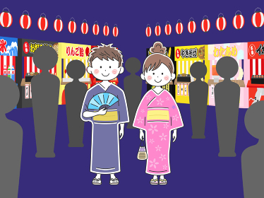 浴衣を着た若い男女のイラスト 夏祭り