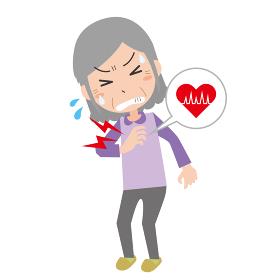 胸が痛むシニア女性