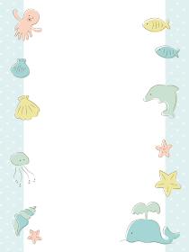 夏の海の生き物フレーム(縦長)