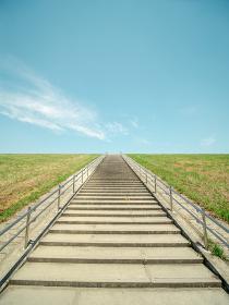 初夏の青空と新緑の野原、そしてまっすぐ伸びる階段