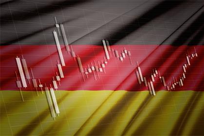 ドイツの国旗と株価チャート ロウソク足を合成したコンピューターグラフィックスCG