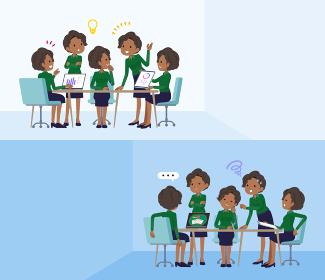 脳内会議をする黒人ビジネス女性のセット