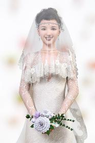 花のブーケを持つベールをつけた純白のウエディングドレスを着た花嫁