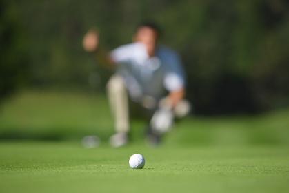 ゴルフボールとパッティングする男性