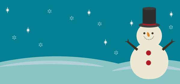 雪だるまと雪景色の横向き背景