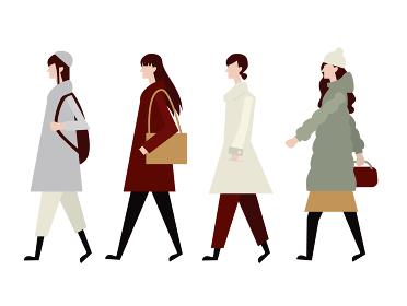 歩行者 若い女性 冬服 横向き