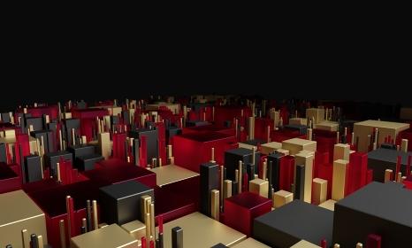 様々な大きさや色のオブジェクトが集まる背景グラフィック:(3D レンダリング)