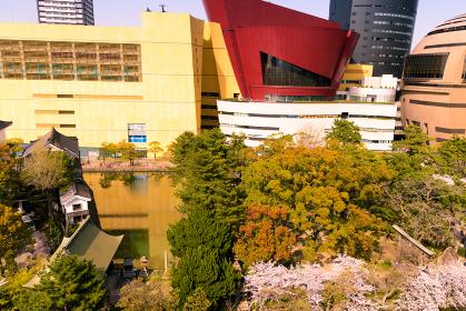 小倉城から眺める小倉城桜まつり