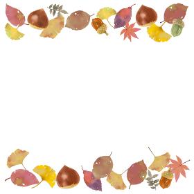 落ち葉と栗 秋のモチーフのイラストレーション