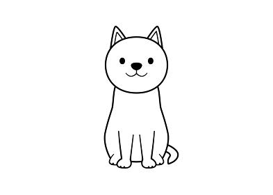 正面を向いて座る立ち耳犬のイラスト