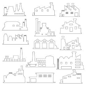 イラスト素材 工場 産業 電力 電気建物 ライン セット